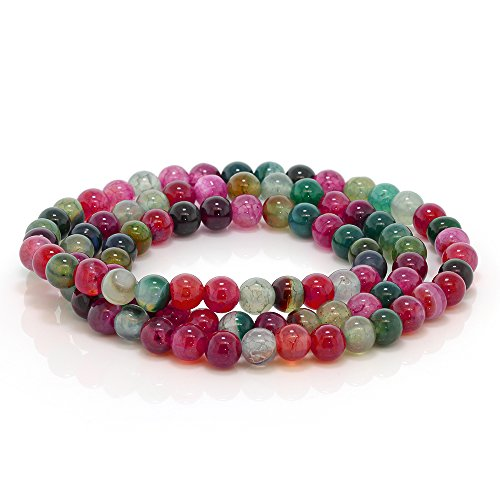 Gem Stone King 6mm Stunning Stackable Round Red Agate Bead Stretchy Bracelet - Necklace 20inches