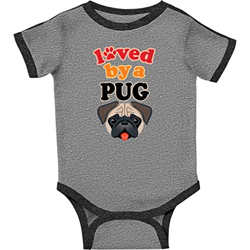 (inktastic - Pug Dog Infant Creeper 24 Months Ringer Heather and Smoke 313a4)