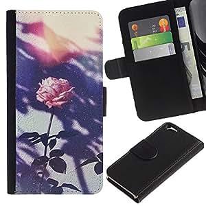 KingStore / Leather Etui en cuir / Apple Iphone 6 / Retro Foto rosada de la flor;