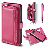 Wallet Case for Samsung S8, Bonice Detachable Premium Leather Magnetic Folio Zipper Protective Phone Wallet Case with Multiple Card Slots Extra Wallet Storage for Samsung Galaxy S8 2017 - Rose Red