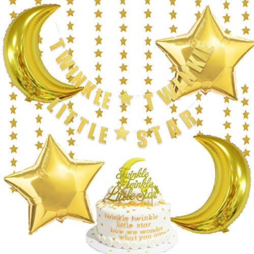 Twinkle Twinkle Little Star Decorations with Glitter Star Banner, Sparkling Star Garland, Cake Topper and Foil Balloons