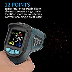 Digital Laser Infrared Thermometer Hanmer IR1 ?Non-Contact Type 0.5 sec high-Speed Temperature Detection? Color Display Non-Contact Thermometer Thermometer for Meat Refrigerator Pool Oven