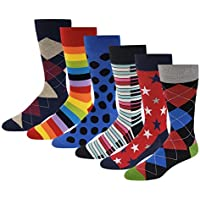 6 Pairs Pack Men's Premium Combed Cotton Fashion Funky Design Dress Socks 10-13