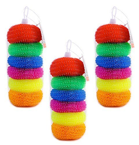 Pack of 18 Assorted Colors Round Plastic Dish Scrubbers, Mesh - Dish Mesh Scrubber