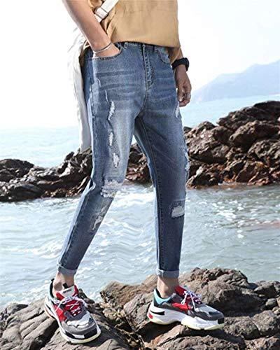 1802denim Stretch Di Da Fori Classiche Pants Ragazzi Jeans Lavati Cher Pantaloni Chiaro Skinny Strappati Colore Uomo qwwdSaZ0