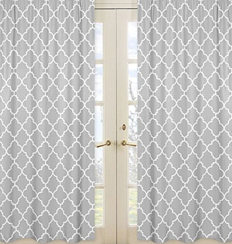 Gray and White Trellis Print Collection Lattice Window Treatment Panels - Set (Lattice Panel Bed)