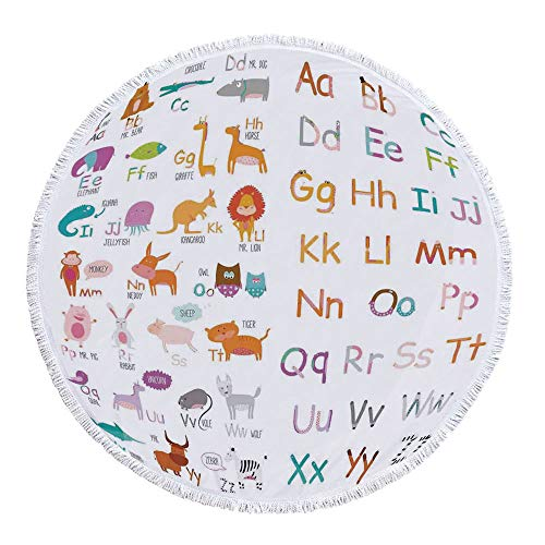 (Kids Animal Avirulent and Tasteless Round Beach Towel,Colorful Alphabet Zoo Letters Learn to Read Mr.Bear Tiger Iguana Monkey Unicorn Ant Print for Poolside Lounging or Wall Hanging,59.1