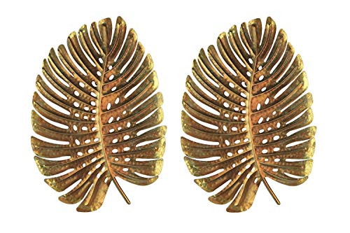 Palm Leaf Wall Sculpture - Three Hands Corp. Gold Metal Wall Art Giant 3D Leaf Sculpture 26 inch Set of 2