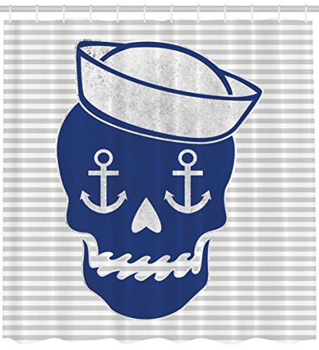 r Curtain Skulls Decorations, Sailor Cap Skull Bones Anchor Gray Striped Dia De Los Muertos Theme Heart Nose Home Decor Fabric Bathroom Artistic Pattern Blue Decoration ()