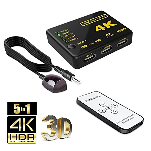 4K HDMI Switch Splitter Adapter - Intelligent 5 Input Port HDMI Switcher and Splitter for Device Support - Full HD1080p, 4K and 3D with IR Remote