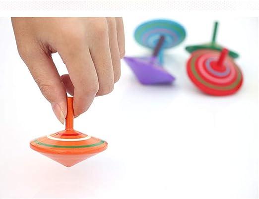 Ogquaton 3 piezas hecho a mano de madera pintada Spinning Tops ...