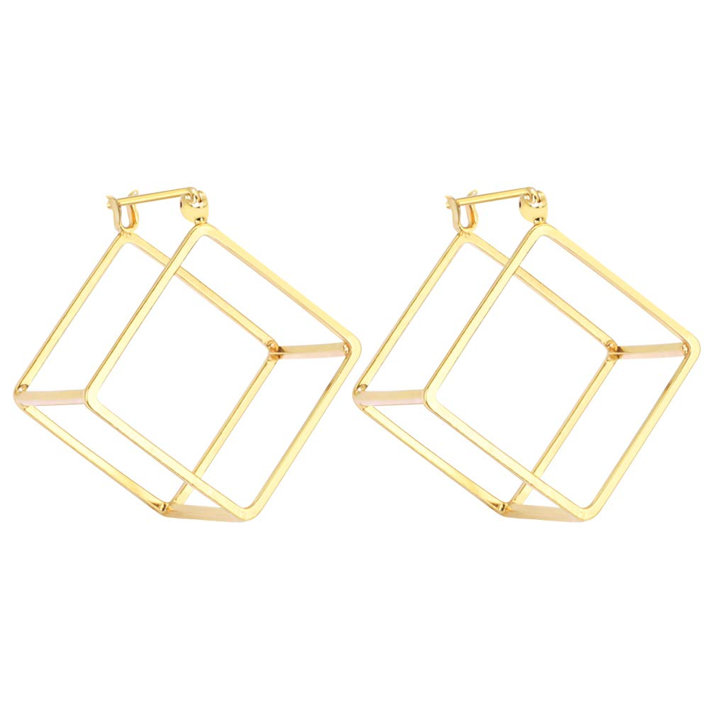 Rugewelry Geometric 3D Cube Square Triangle Earrings 18k Gold Plated Stud Earrings For Women,Girls' Gifts