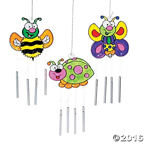 (12 Paint Your Own Color Bug Sun Catcher Wind Chimes Kids Craft Suncatchers - Ladybug, Bee, Butterfly)