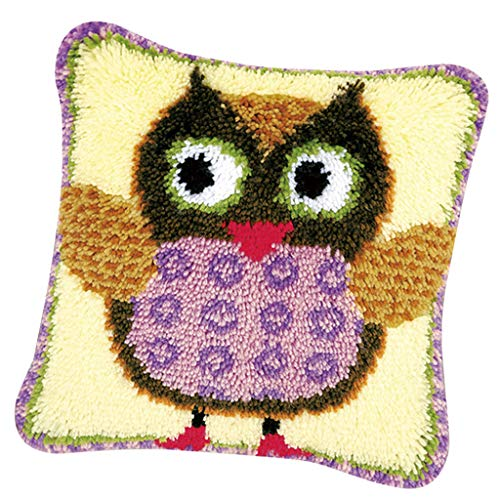 SM SunniMix 17x17 Inch DIY Latch Hook Kits with Basic Tools and Instruction for Pillow Case Making - Owl ()