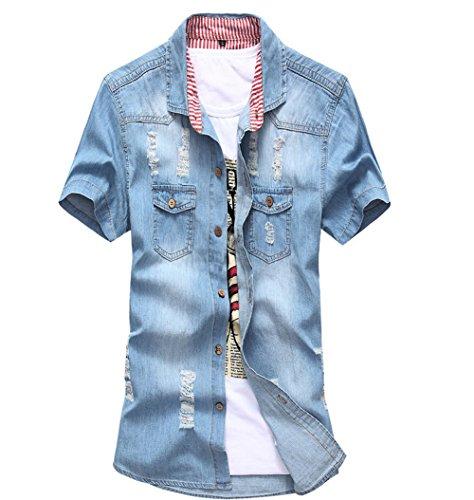 DeLamode - Camiseta de tirantes - para hombre Holes Light Blue