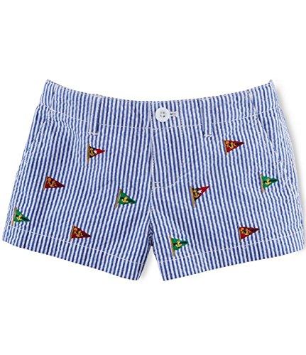 Ralph Lauren Girls' Embroidered Seersucker Shorts Size 4/4T Blue