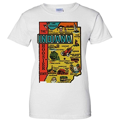 Indianapolis Indy 500 (Vintage State Sticker Indiana Ladies T-Shirt - White)