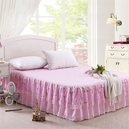 Bed Skirts Finest Quality Cotton Long Staple Fiber - Durable Comfortable Abrasion Resistant King Pink