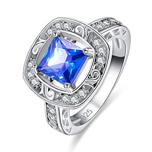 Veunora Graduation Gift 925 Sterling Silver 8x8mm Princess Cut Tanzanite Halo Filled Ring - Cut Tanzanite Solitaire