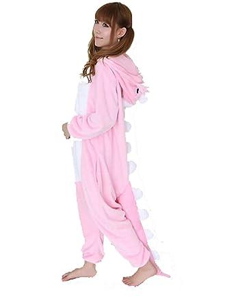 Cálido Onesie pijama adulto Unisex una pieza pijama Casual Cosplay de chándal Animal Pijama Rosa Dinosaurio