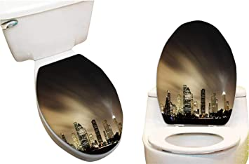 Strange Amazon Com Toilet Seat Sticker Metropolit Skyline At Night Unemploymentrelief Wooden Chair Designs For Living Room Unemploymentrelieforg