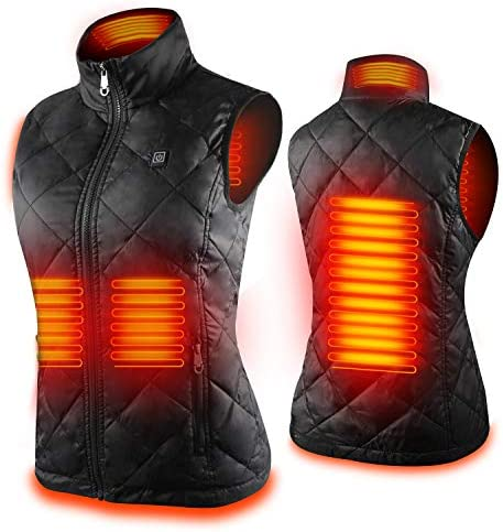 Women's Heated Vest with 3 Heating Levels, 4 Heating Zones,Neck Heating Jacket Washable (Batteries no longer integrated)