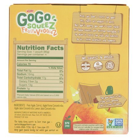 PACK OF 12 - GoGo Squeez Fruit & Veggiez On The Go Apple Pear Carrot - 4 CT by Materne (Image #2)