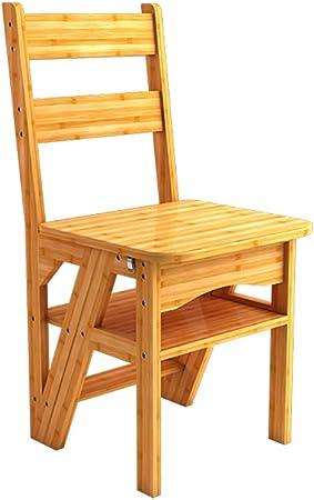 Taburete plegable, 2 en 1 Sillas de madera para sillas de escalera de caucho Escaleras plegables Estante multifuncional Estante de doble uso, para renovación/sala de estar/estudio/dormitorio/etc: Amazon.es: Hogar