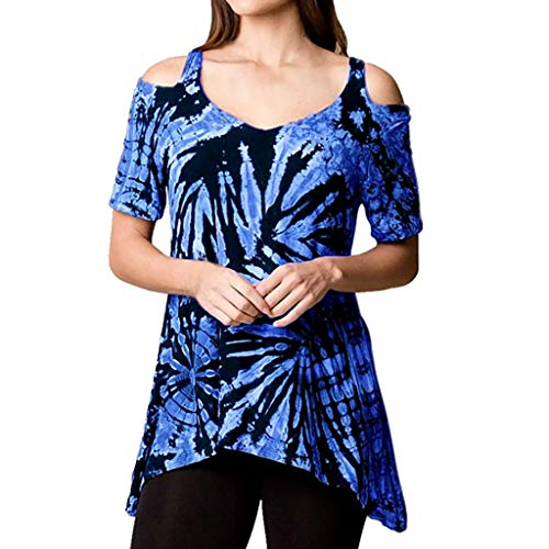 Toponly T Shirt for Women Casual Blouse Summer Off Shoulder Irregular Tie Dyeing Print Shirt Tops
