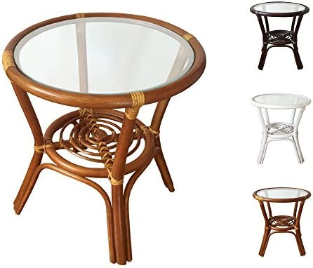 Rattan Round Coffee End Table Model Diana with Glass Top 7Colors 2Size 19 Diameter, Light Brown