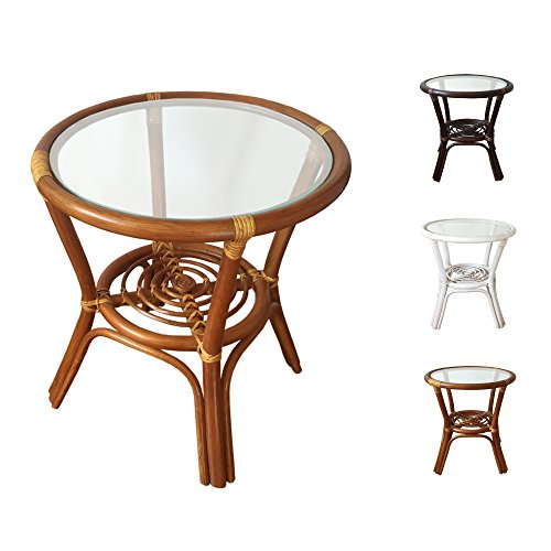 Rattan Round Coffee End Table model Diana with Glass Top 7Colors 2Size (19″ Diameter, Light Brown) For Sale