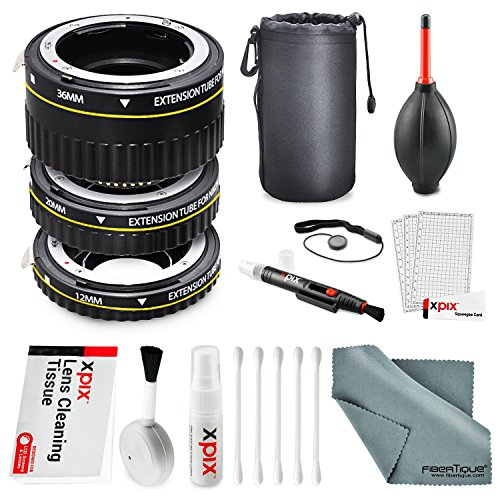 Xit Auto Focus Macro Extension Tube Set for Nikon SLR Cameras XTETN with Deluxe Accessory Bundle and Cleaning Kit (Auto Focus Extension compare prices)