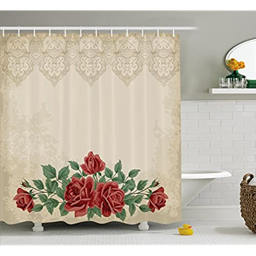 Shabby Chic Shower Curtain By Ambesonne, Vintage Glamour Background With  Red Rose Love And Attraction Symbol Delicacy, Fabric Bathroom Decor Set  With Hooks, ...
