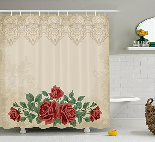 Shabby Chic Shower Curtain by Ambesonne, Vintage Glamour Background with Red Rose Love and Attraction Symbol Delicacy, Fabric Bathroom Decor Set with Hooks, 70 Inches, Beige Green