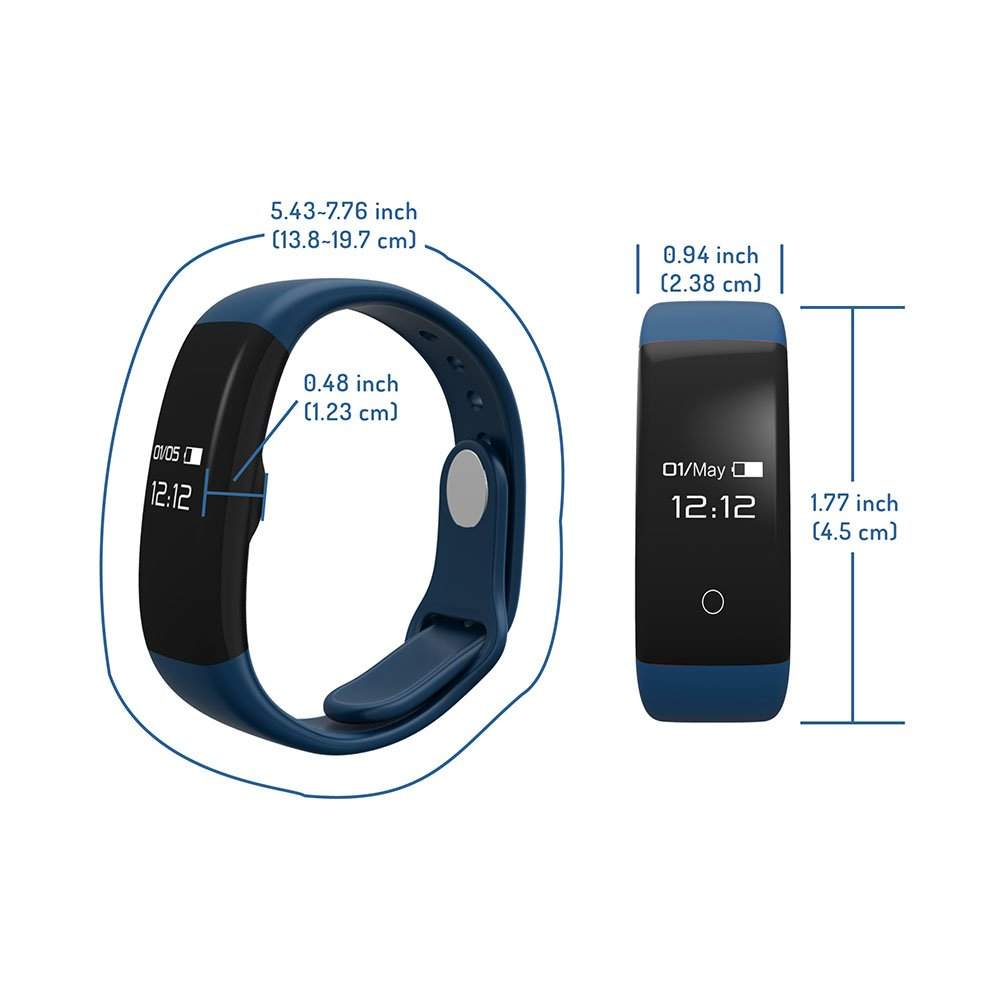 LINGYUE Heart Rate Monitor Smart Band Blood Pressure Monitor Smart Wristband Fitness Tracker Smart Bracelet for IOS Android H30 (Royalblue)