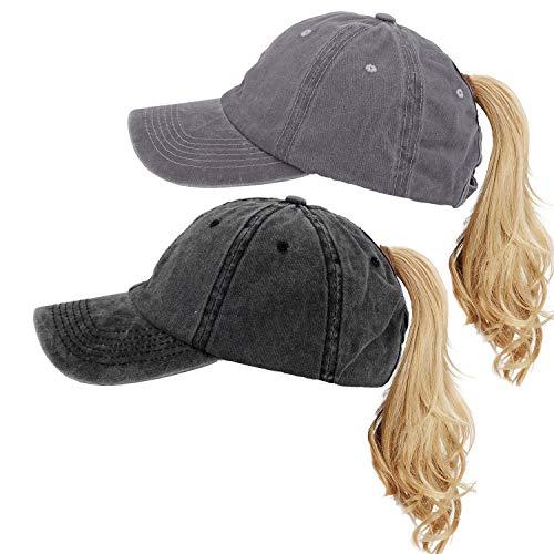 Vintage Washed Ponytail Sports Hat Messy High Bun Hat Distressed Ponycaps Adjustable Cotton Trucker Baseball Cap