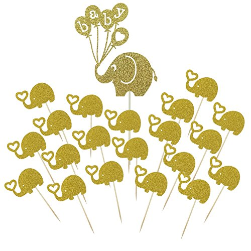 Shxstore Gold Baby Elephant Cake Topper Small Elephant Cupcake Picks For Baby Shower Birthday Theme Party Decorations Supplies, 21 Counts Baby Cupcake Toppers