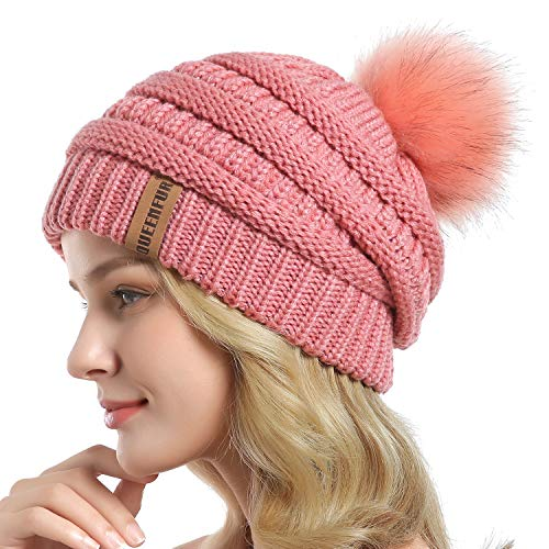 QUEENFUR Women Knit Slouchy Beanie Chunky Baggy Hat with Faux Fur Pompom Winter Soft Warm Ski Cap (Single Pink)