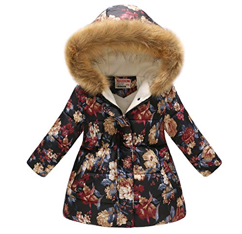 Miss Bei Girl's Kids Toddler Winter Flower Print Parka Outwear Warm Cotton Coat Hooded Jacketnavy red110 -