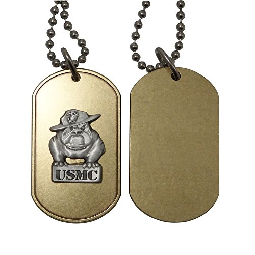 Indiana Metal Craft US Marine Corps Brass Dog Tag with Pewter Bulldog Emblem. Made in USA. ()