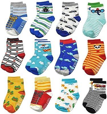 12 Pack Toddler Kid Boy Girl Socks Non Skid Slipper Socks Grip 1-7 Years Old Kid