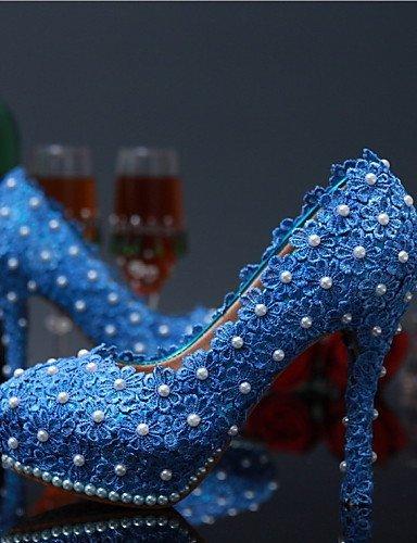 ShangYi Schuh Damen - Hochzeitsschuhe - Absätze - High Heels - Hochzeit / Party & Festivität - Schwarz / Blau / Rosa / Rot / Weiß , 4in-4 3/4in-blue