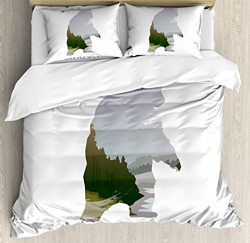 Ambesonne Cabin Decor Duvet Cover Set Queen Size, Wild Animals of Canada Survival in The Wild Theme Hunting Camping Trip Outdoors, Decorative 3 Piece Bedding Set with 2 Pillow Shams, Multicolor (Duvet Canada Sets Cover)
