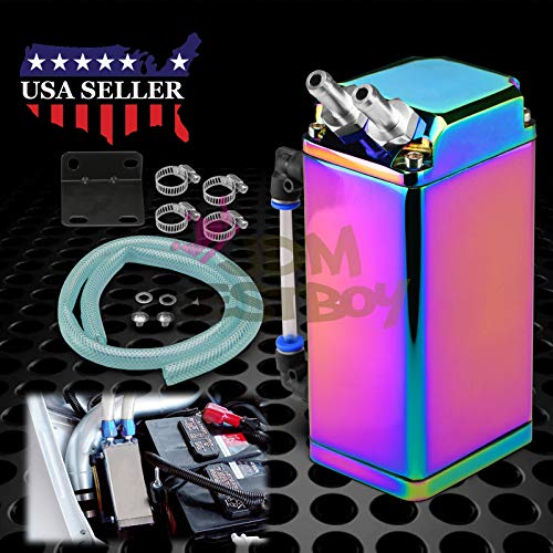 - JDMBESTBOY Neo Chrome High Capacity Square Billet Aluminum Engine Oil Catch Tank Reservoir Breather Can