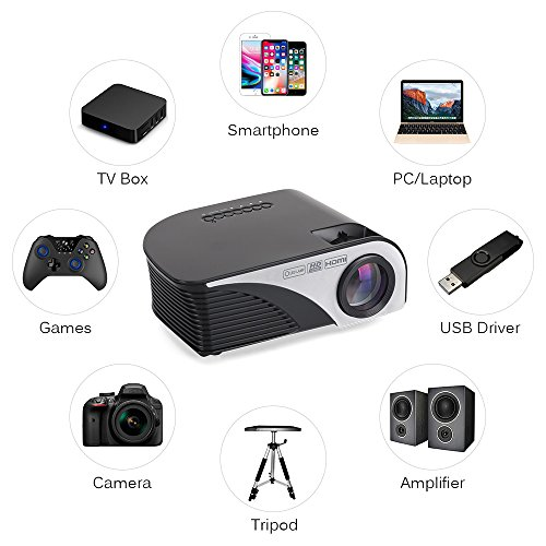 "Portable Projector LCD Home Movie Projector 1200 Lumens,4inch Multimedia Home Projector Support Full HD 1080P,HDMI,USB,VGA,AV,ATV for 35""-120"" Home Theater,TVs,Laptops, Games&Smartphone.iDeer (Black) by iDeer Life (Image #6)"