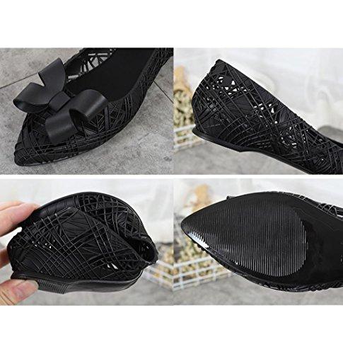 Agua la Impermeables Planos Superficiales de de Zapatos Zapatos Las Ocasionales de Damas Negro Jalea Botas Mujeres de Antideslizante Lluvia gw5pqTn