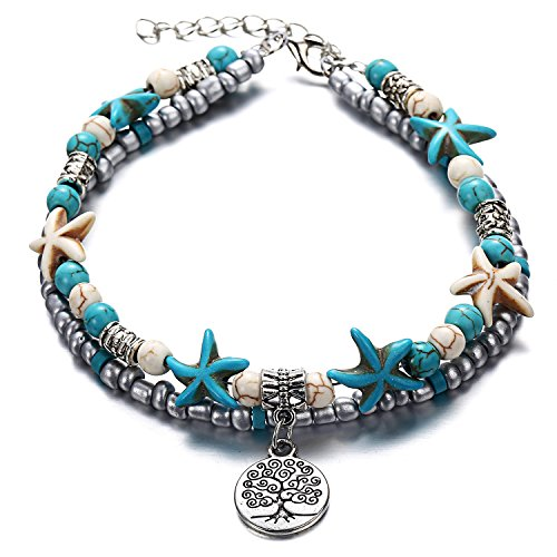 Tree of Life Boho Seed Beads Starfish Beach Elephant Love Heart Anklet Multi Layer Yoga Leg Bracelet Sandals Hippy Summer Charms Foot Chain Jewelry (Tree) by MIXIA (Image #1)