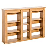 HOMCOM Wall Mounted Storage Cabinet Floating Media Shelving CD/DVD Rack Organizer - Light Oak