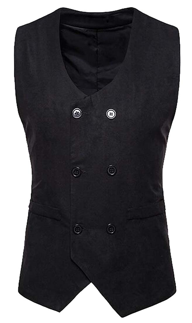 JYZJ Mens Double Breasted Solid Business Suede V-Neck Dress Suit Vest Waistcoat