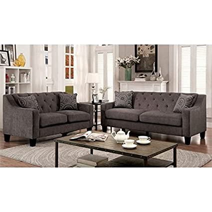 Furniture Of America Kendly 3 Piece Chenille Sofa Set In Mocha